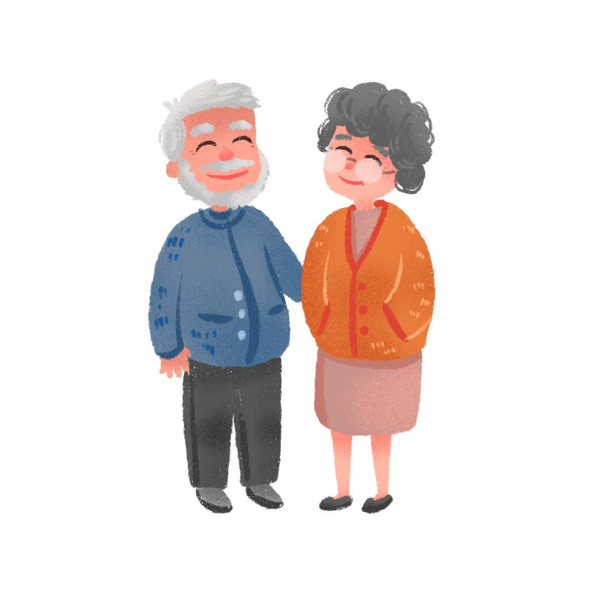Pngtree hand drawn cute elderly couple 3723435